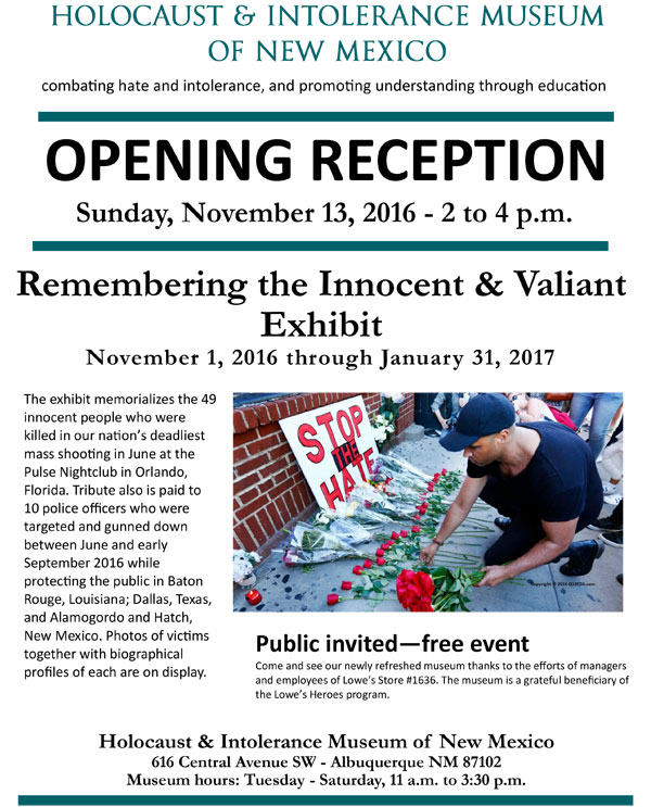 Remembering the Innocent & Valiant Exhibit - Click here for PDF version with RSVP form